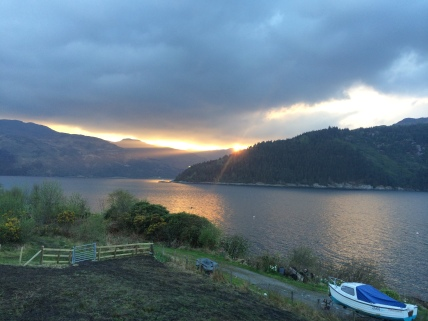 Portincaple Scotland, sunset from our cottage